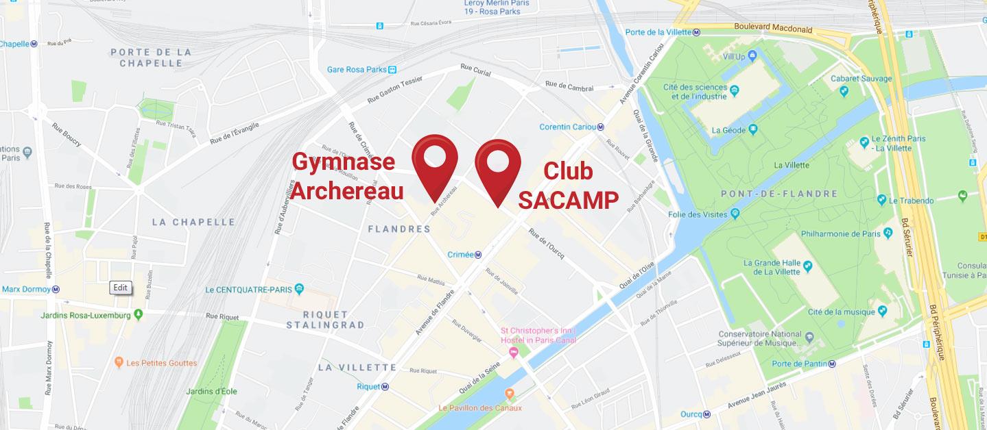 Localisation du Club SACAMP dans le 19e